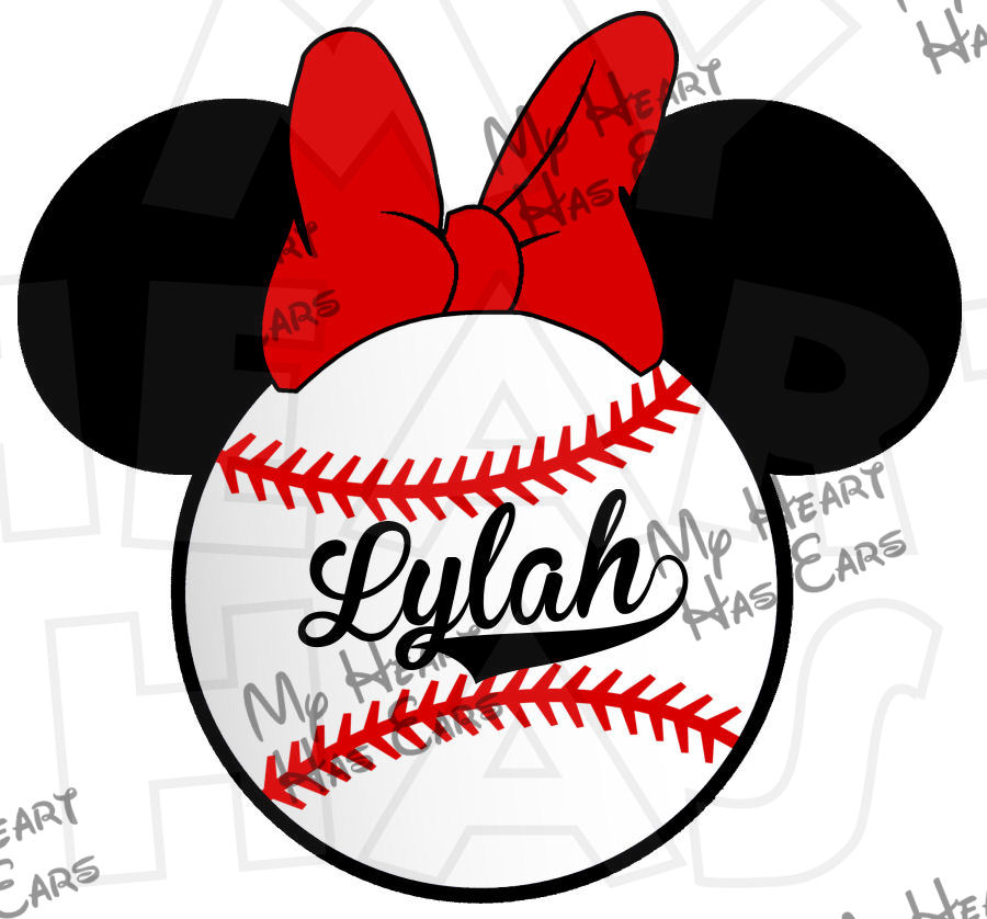 900x838 Minnie Mouse Baseball Personalized Digital Clip Art Image For Iron