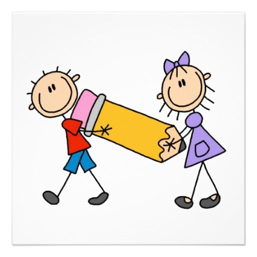 512x512 Stick Kids With Pencil Personalized Invitation Jaleco