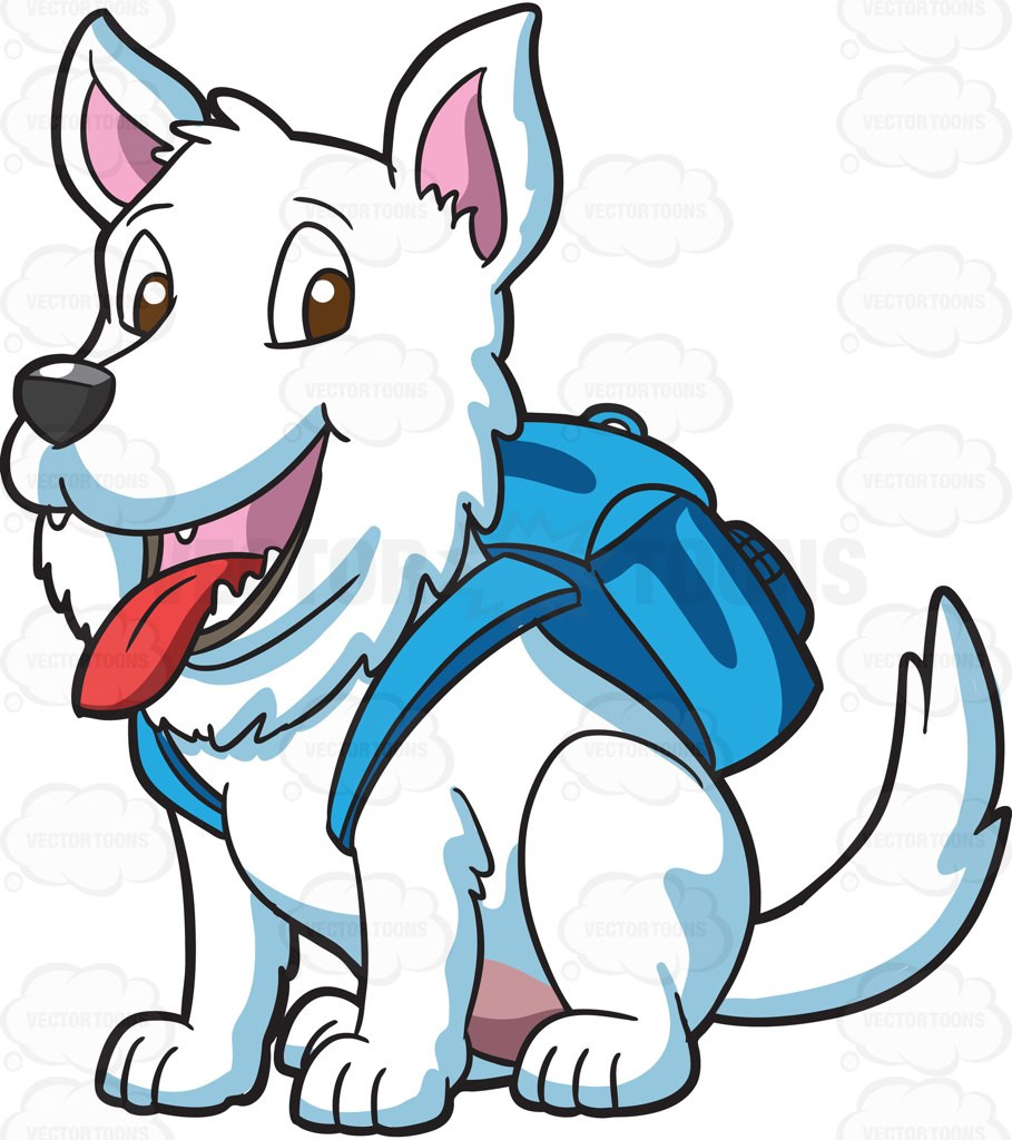 909x1024 A Small White Dog With A Backpack Cartoon Clipart Vector Toons