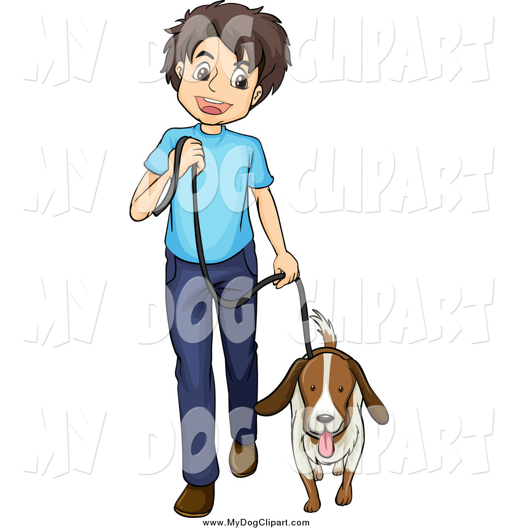 1024x1044 Clip Art Of A Happy White Boy Walking A Dog By Graphics Rf