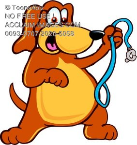 283x300 Clipart Illustration Cartoon Pet Dog With Leash