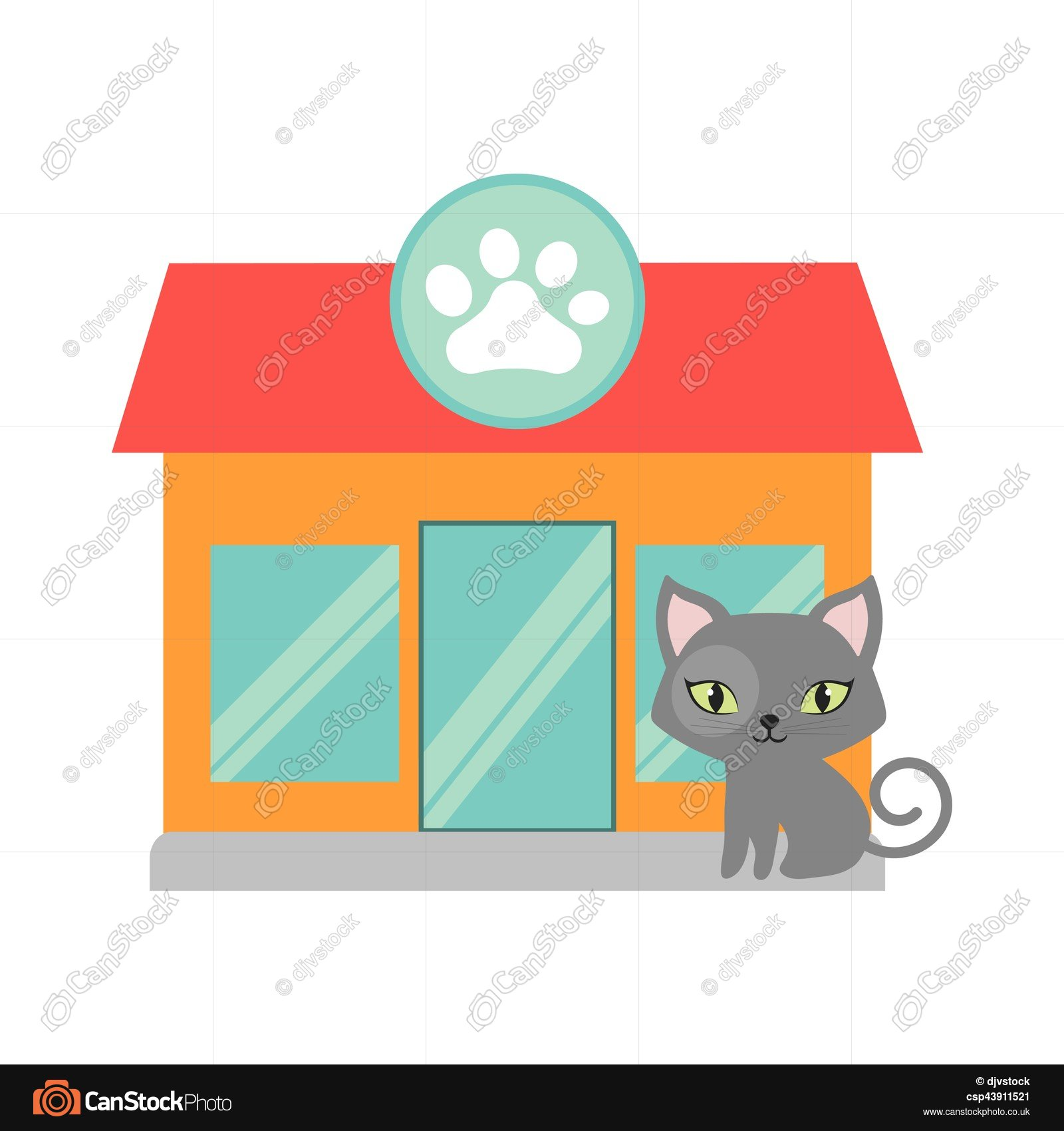 1600x1700 Gray Small Cat Green Eyes Pet Shop Facade Paw Print Vector