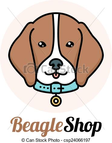 370x470 Beagle Dog Logo. Beagle Dog Portrait With Collar Shop Eps