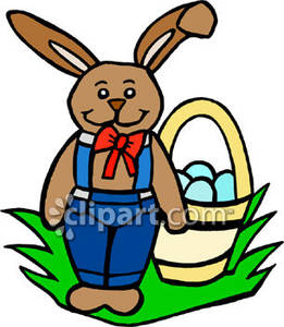 261x300 Peter Cottontail With His Easter Basket Royalty Free Clipart Picture
