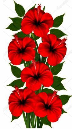 236x419 Fleurs 2 Pinturas Flores Flowers, Hibiscus