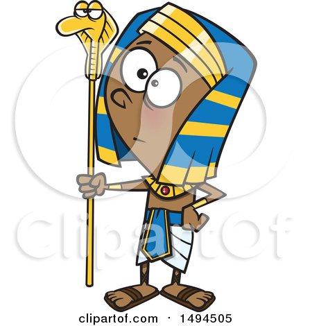 450x470 Clipart Of A Cartoon Pharaoh Boy Holding A Snake Staff