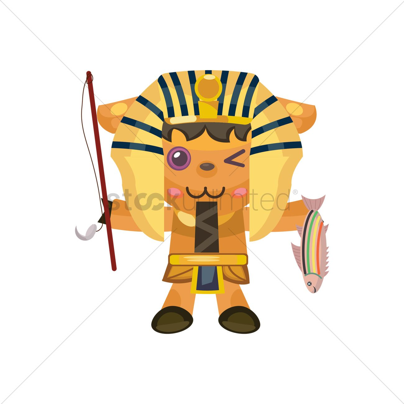 1300x1300 Pharaoh Fishing Vector Image