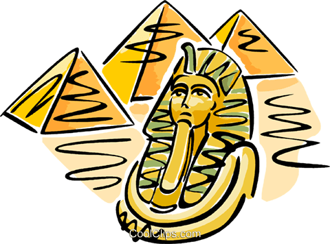 480x356 Pyramids With Pharaoh's Mask Royalty Free Vector Clip Art