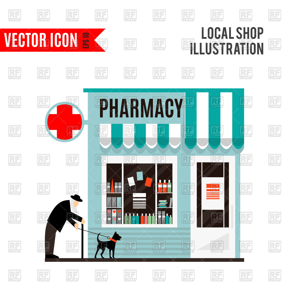 1200x1200 Pharmacy Shop Icon, Grandfather With Dog Royalty Free Vector Clip
