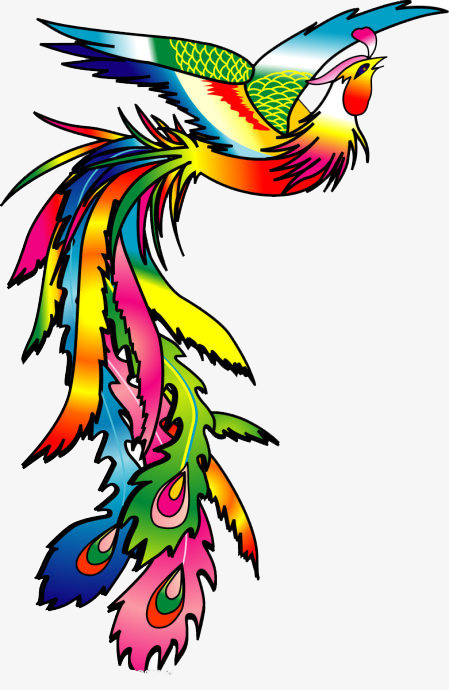 449x690 Colorful Phoenix, Colorful, Cartoon, Hand Painted Png Image