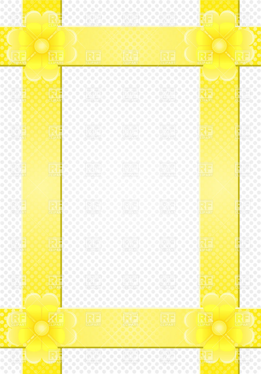 840x1200 Yellow Photo Frame With Flowers Royalty Free Vector Clip Art Image