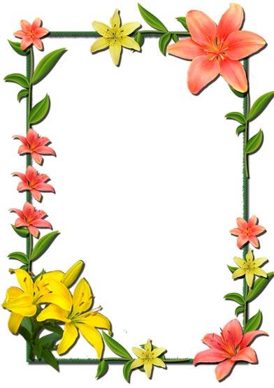 392x555 Flower Photo Frames Photoshop Clipart Flower Photo Frames Pencil
