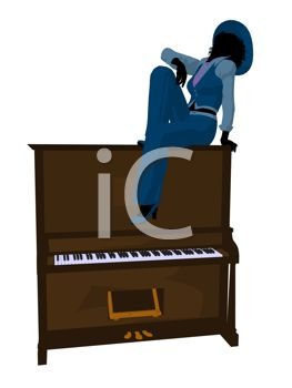263x350 Silhouette Of A Jazz Woman Posed On A Piano
