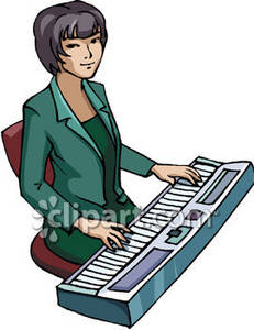 231x300 Clipart Picture Of A Woman Playing An Electric Keyboard