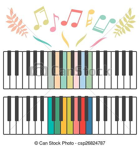 450x470 Colored Piano Keys And Notes Vector Illustration. Colored