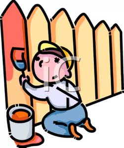 251x300 A Colorful Cartoon Of Boy Painting A Picket Fence