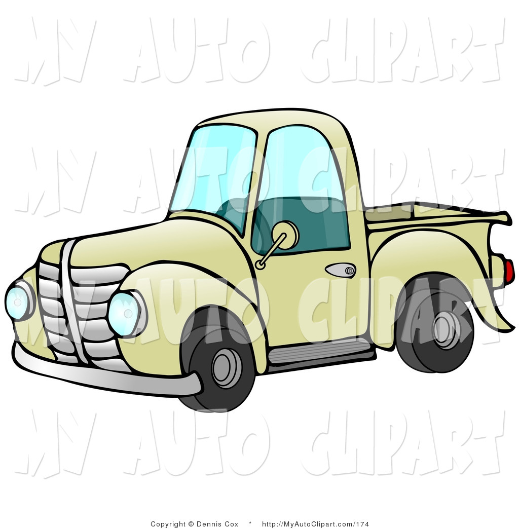 1024x1044 Clip Art Of An Old Fashioned Yellow Pickup Truck Facing Left By