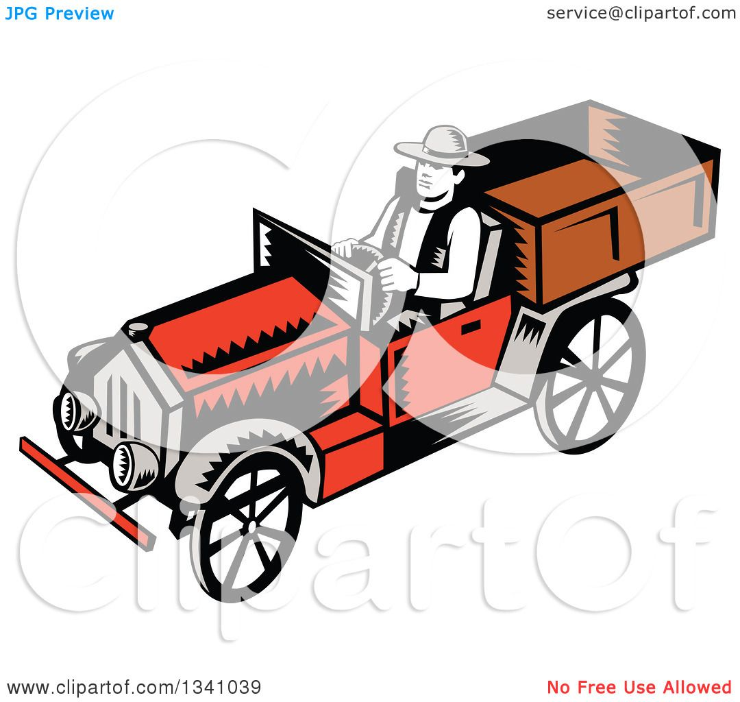 1080x1024 Clipart Of A Retro Woodcut Man Driving A Vintage Pickup Truck