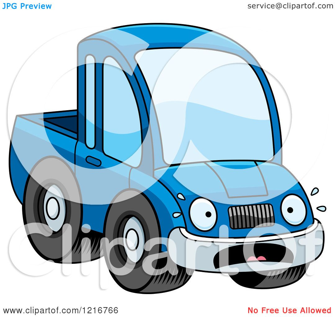 1080x1024 Clipart Of A Scared Blue Pickup Truck Mascot