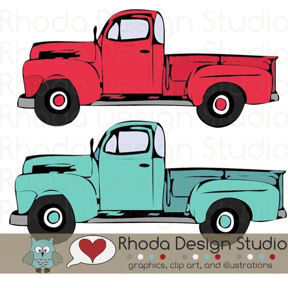 570x570 Red And Mint Vintage Pickup Truck Full Side Stamp Digital Clip Art