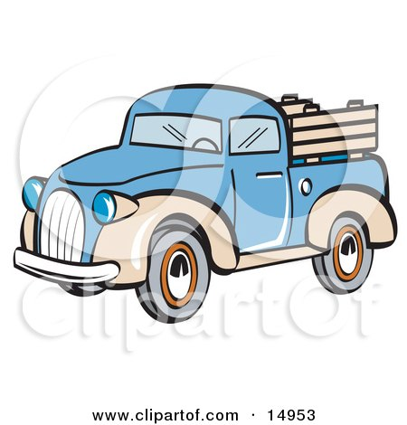 450x470 Clipart Of A Retro Vintage Pickup Truck In An American Themed