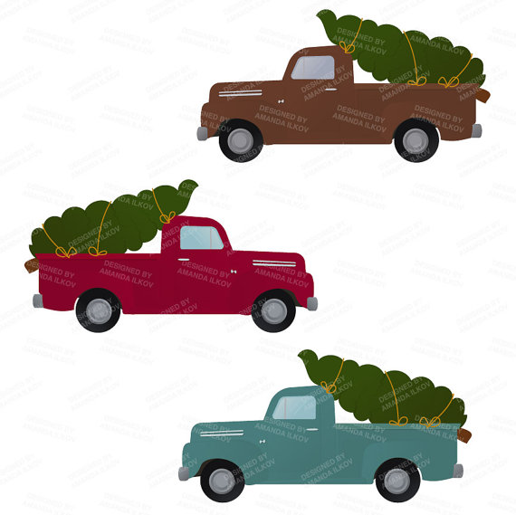 570x569 Collection Of Red Truck With Christmas Tree Clipart High