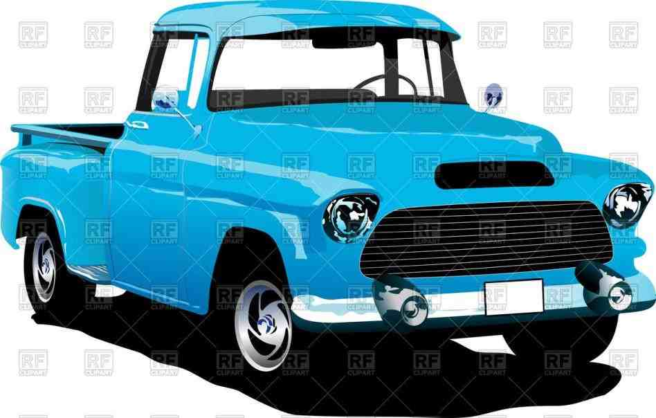 948x604 Old Blue Vintage Truck Clipart American Pickup Royalty Free Vector