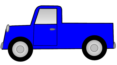 500x276 Blue Ute Pickup Truck Sketch Clipart, Lg 15 Cm Long