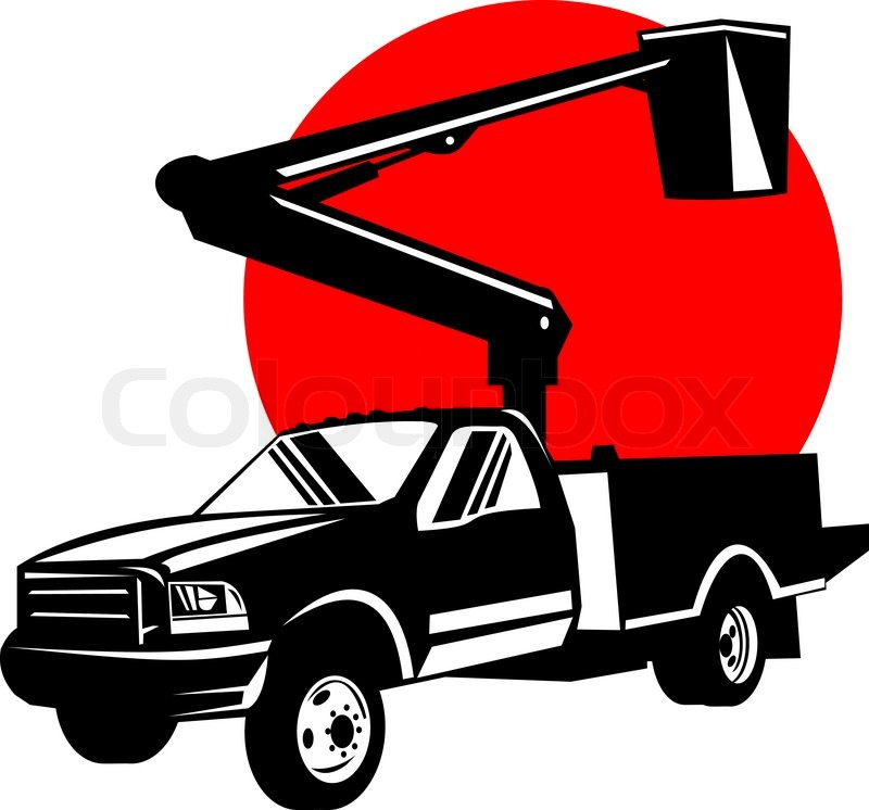 800x746 Bucket Pick Up Truck With Cherry Picker Stock Photo Colourbox
