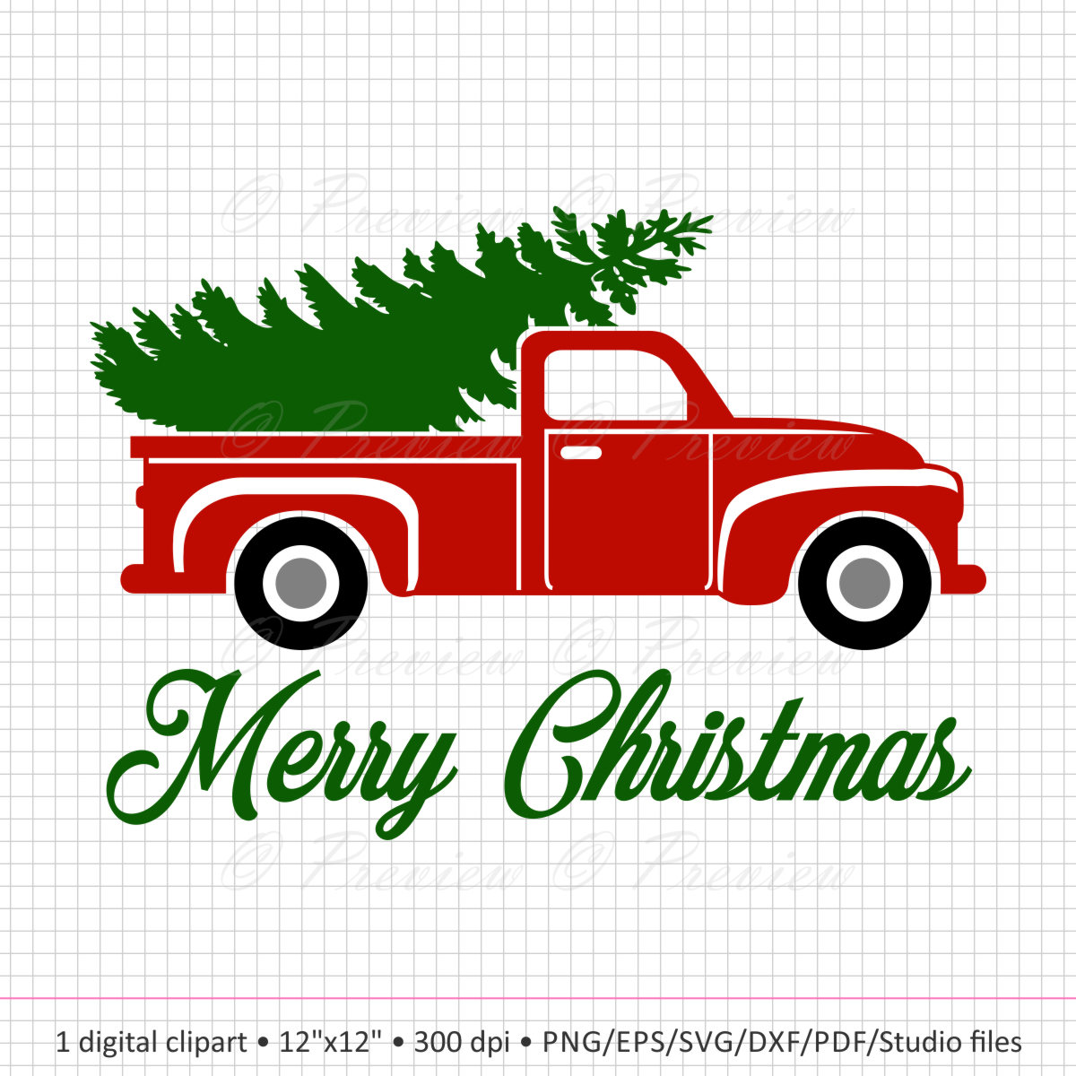 1200x1200 Buy 2 Get 1 Free Digital Clipart Christmas Tree Truck