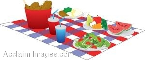 300x124 Clipart Illustration Of A Picnic Foods On A Blanket