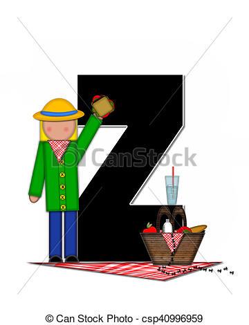 360x470 Alphabet Children Picnic Z. The Letter Z, In The Alphabet Set