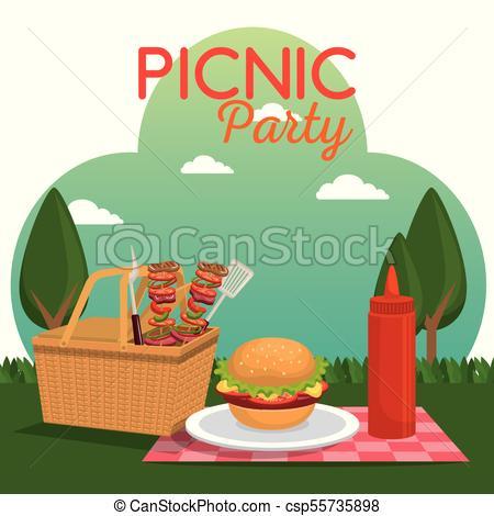 450x470 Picnic Party Celebration Scene Vector Illustration Design Eps