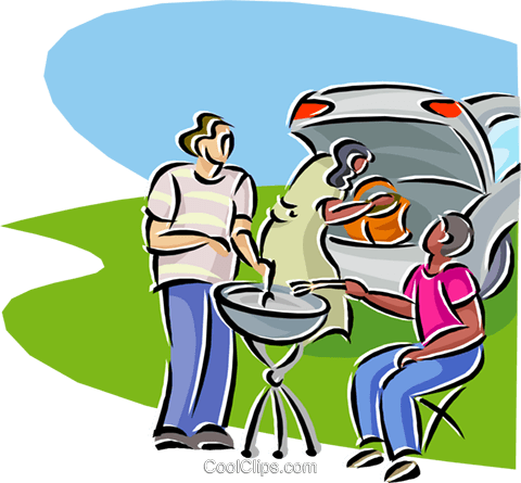 480x445 Family Barbeque Royalty Free Vector Clip Art Illustration