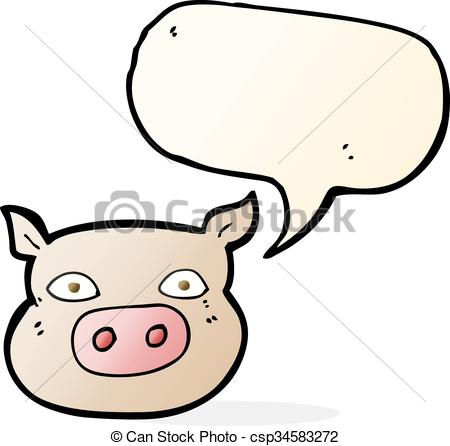 450x446 Cartoon Pig Face With Speech Bubble Vectors Illustration