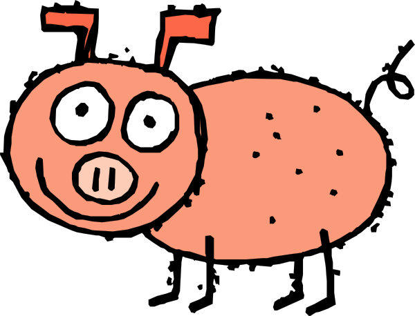 600x458 Pig Cartoon Clip Art