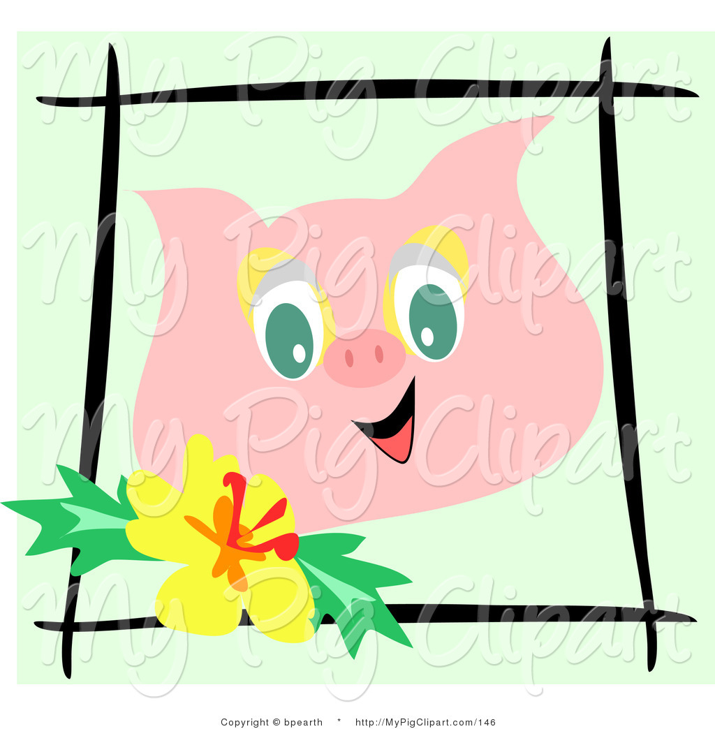 1024x1044 Swine Clipart Of A Happy Pink Pig Face Bordered By Black Sticks