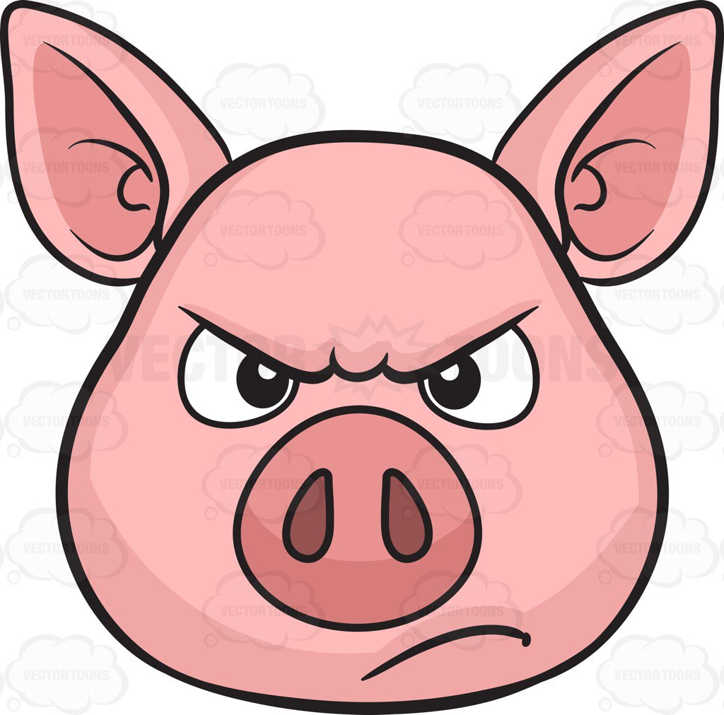 1024x1012 A Disappointed And Angry Looking Pig Cartoon Clipart Vector Toons