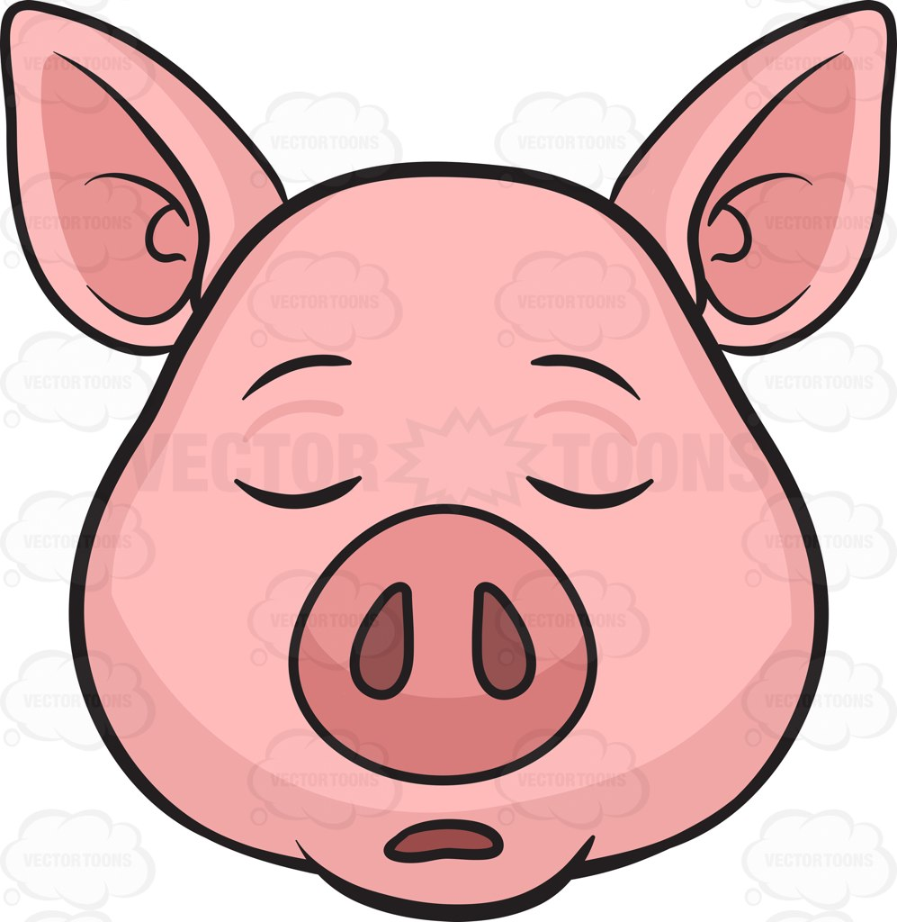 997x1024 A Sleeping Pig Cartoon Clipart Vector Toons