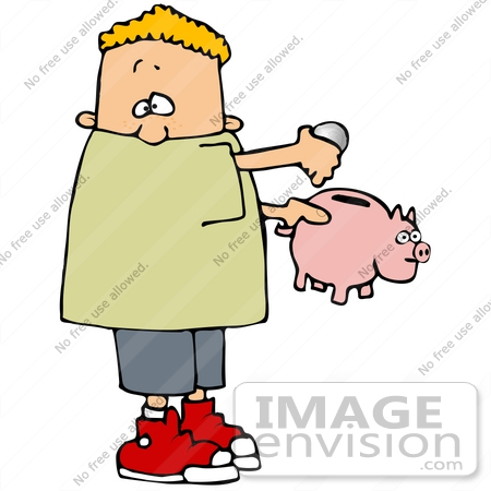450x450 Clip Art Graphic Of A Blond Boy Putting Change Into His Piggy Bank