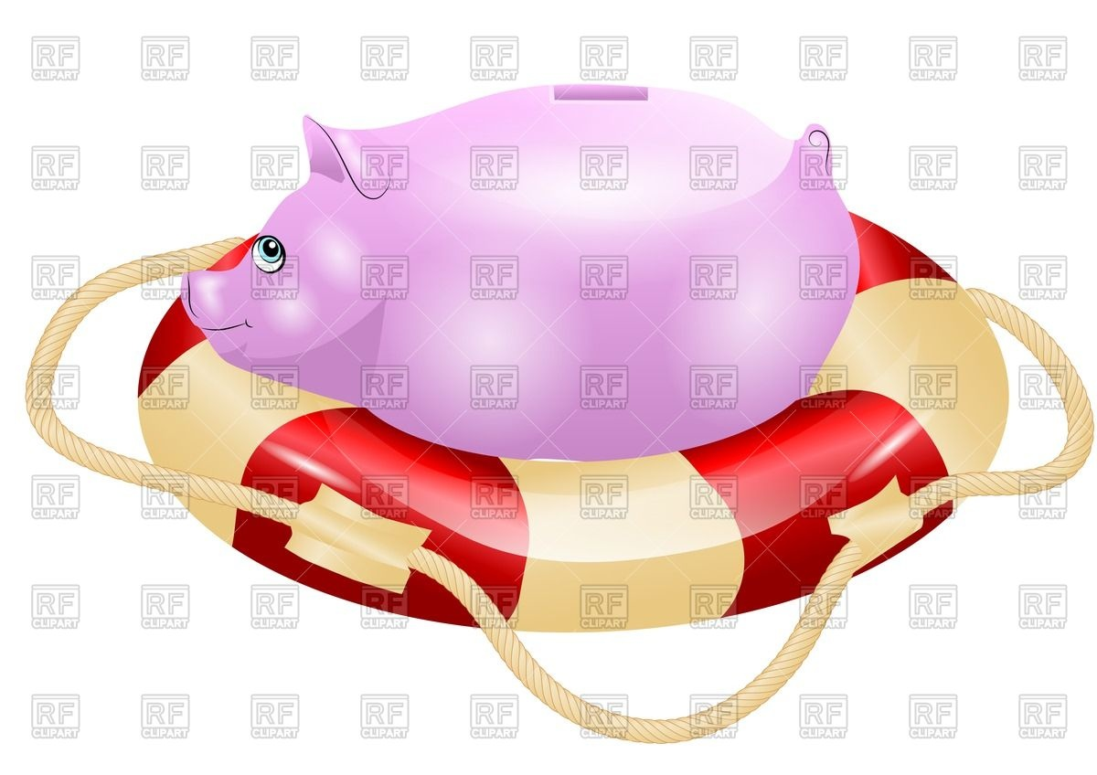 1200x848 Piggy Bank On Lifebuoy Royalty Free Vector Clip Art Image