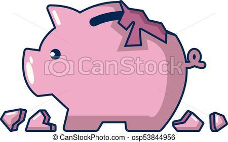 450x281 Broken Piggy Bank Icon, Cartoon Style. Broken Piggy Bank