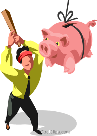 342x480 Businessman Hitting A Piggy Bank Royalty Free Vector Clip