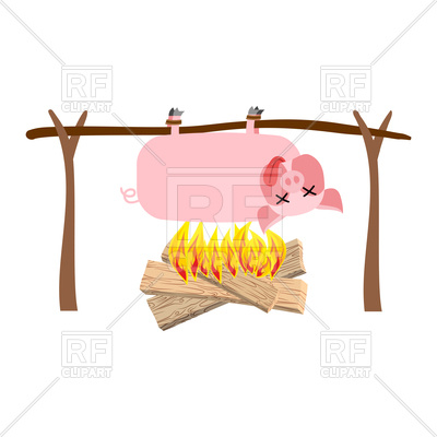 400x400 Grilled Pig Meat On Spit. Roasting Pork. Bbq Piglet Royalty Free