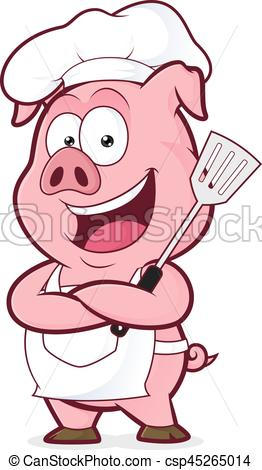 262x470 Pig Chef Holding A Spatula. Clipart Picture Of A Pig Chef