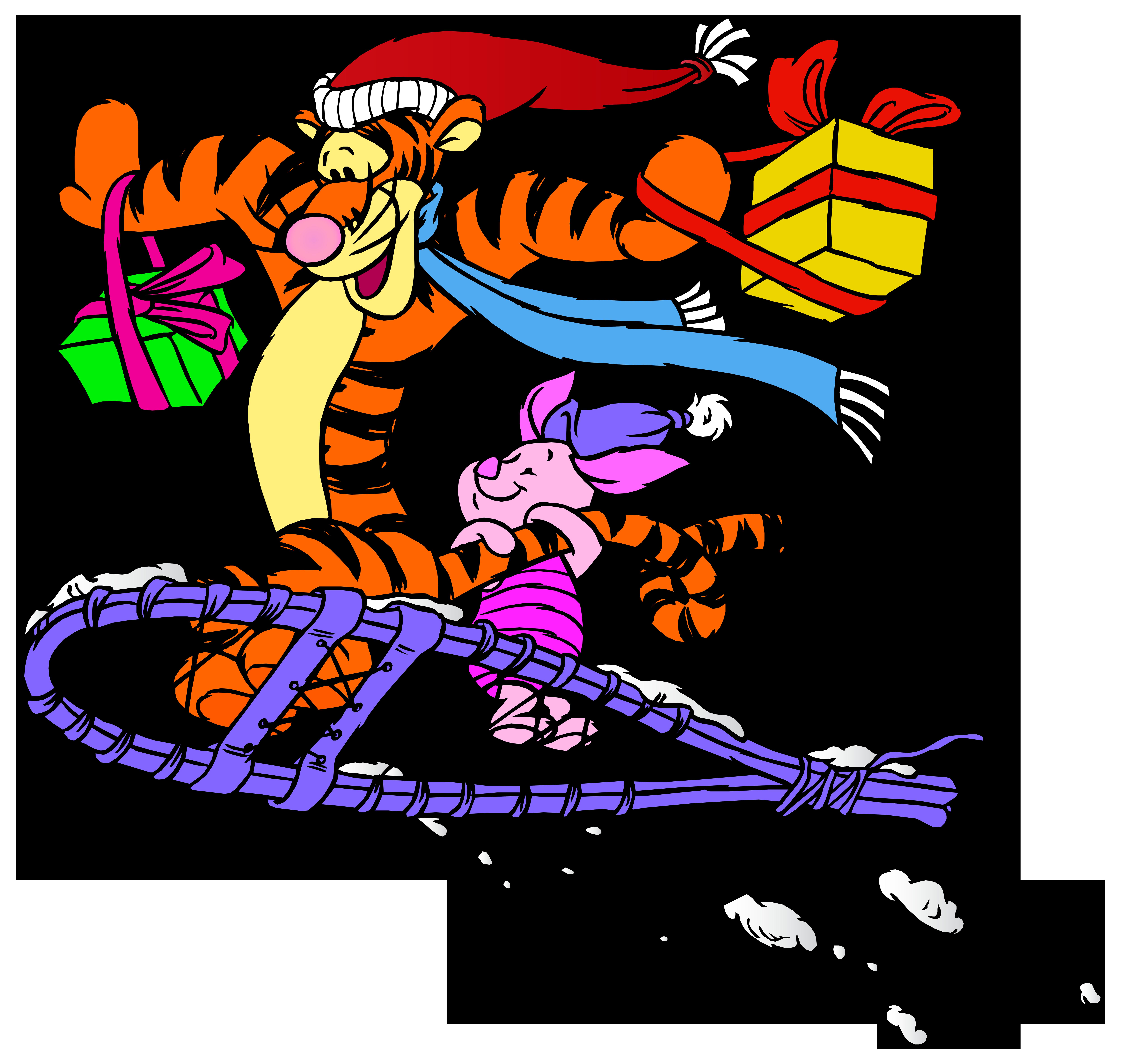 8000x7591 Tigger And Piglet Christmas Png Clip Art