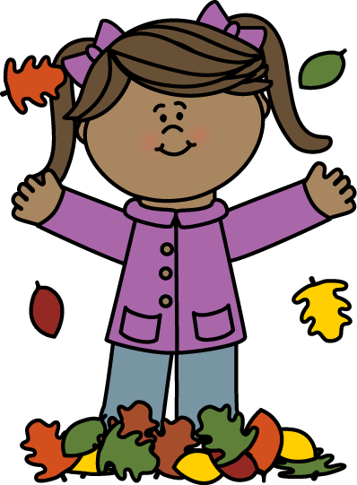 398x541 Girl Playing In Leaves Clip Art