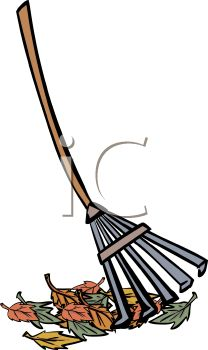208x350 Picture Of A Rake With A Pile Of Leaves In A Vector Clip Art
