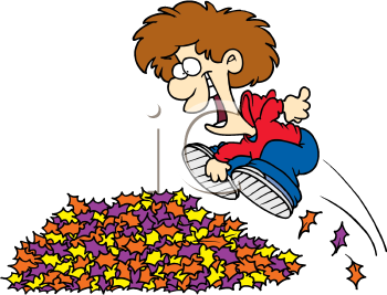 350x267 A Boy Jumping Into A Pile Of Leaves Cartoon Image. Cartoon