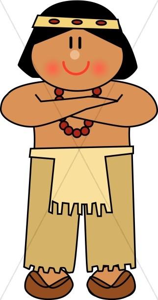 322x612 Cute Native American Man Thanksgiving Clipart